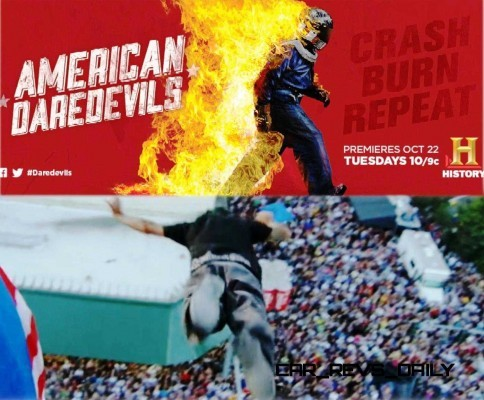 American Daredevils premiered this week on History Channel courtesy of a very nice lead-in from the all-star Top Gear USA. Sharing audiences between these two show makes really good sense, and American Daredevils had us hooked after just the first 40 minutes. The premise of the show is this: crews follow the career and life struggles of three stunt teams, weaving intricate plots and story details that dove-tail with the explosive stunts. The best comparison we can think of for American Daredevils is between Shipping Wars and the previous stunt episodes from Fifth Gear. Where the Fifth Gear team would consult mathematicians and physicists over a month or more lead-up to a big stunt (like the car loop special), American Daredevils is more along