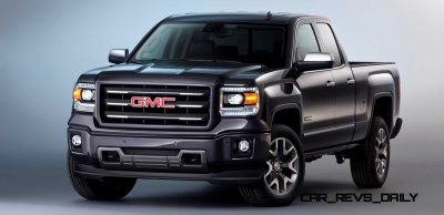 2014 GMC Sierra All Terrain Double Cab Front Three Quarter in Iridium Metallic - Studio