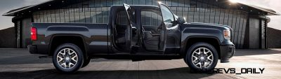2014 GMC Sierra All Terrain Double Cab Side Profile doors open in Iridium Metallic - on location