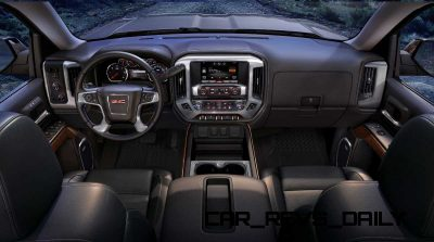 2014 GMC Sierra SLT Interior front dash view from the rear seats
