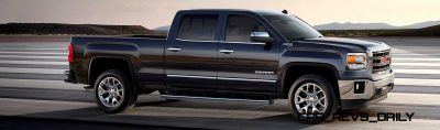 2014 GMC Sierra SLT Crew Cab Side Profile in Iridium Metallic - on location