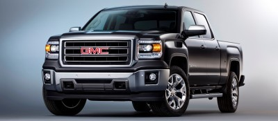 2014 GMC Sierra SLT Crew Cab Front Three Quarter in Iridium Metallic - Studio