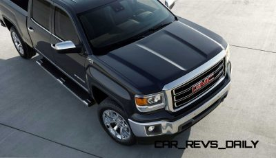 2014 GMC Sierra SLT Crew Cab in Iridium Metallic hood detail- on location