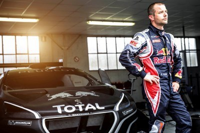 Sebastien Loeb during the first test track at the Peugeot test center in La Ferté-Vidame, France,  on April 18th, 2013