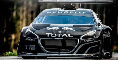 Sebastien Loeb performs during a run  in the first test track at the Peugeot test center in La Ferté-Vidame, France,  on April 18th, 2013