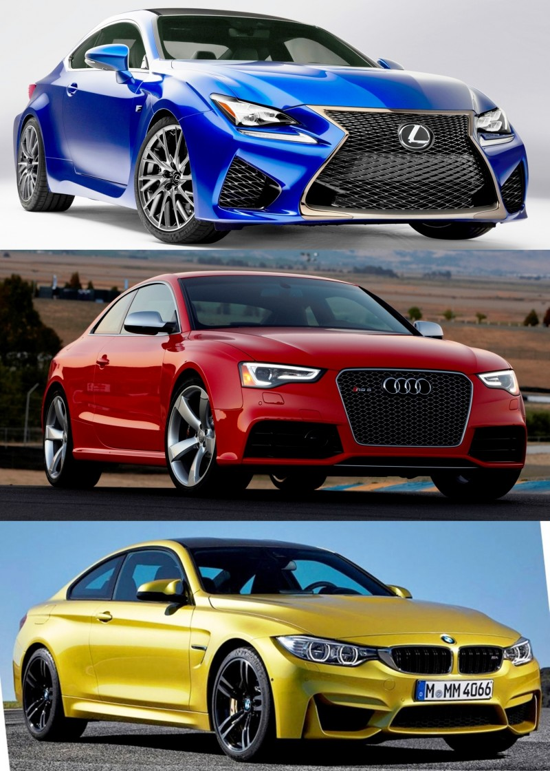 2015 supercoupe design shootout lexus rc f vs bmw m4 vs audi rs5. Black Bedroom Furniture Sets. Home Design Ideas