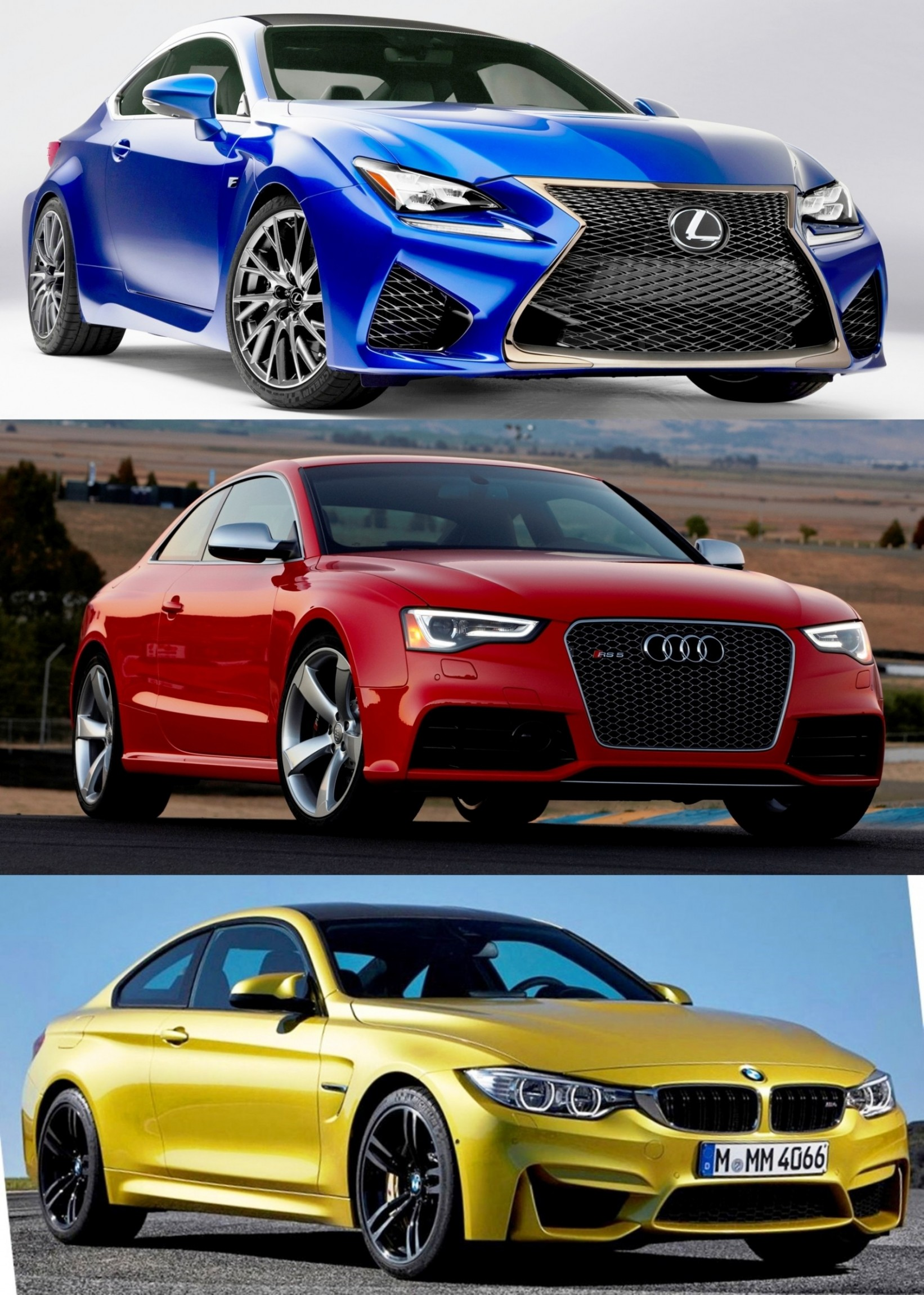 2015 Supercoupe Design Shootout - Lexus RC F vs. BMW M4 vs. Audi RS5 1