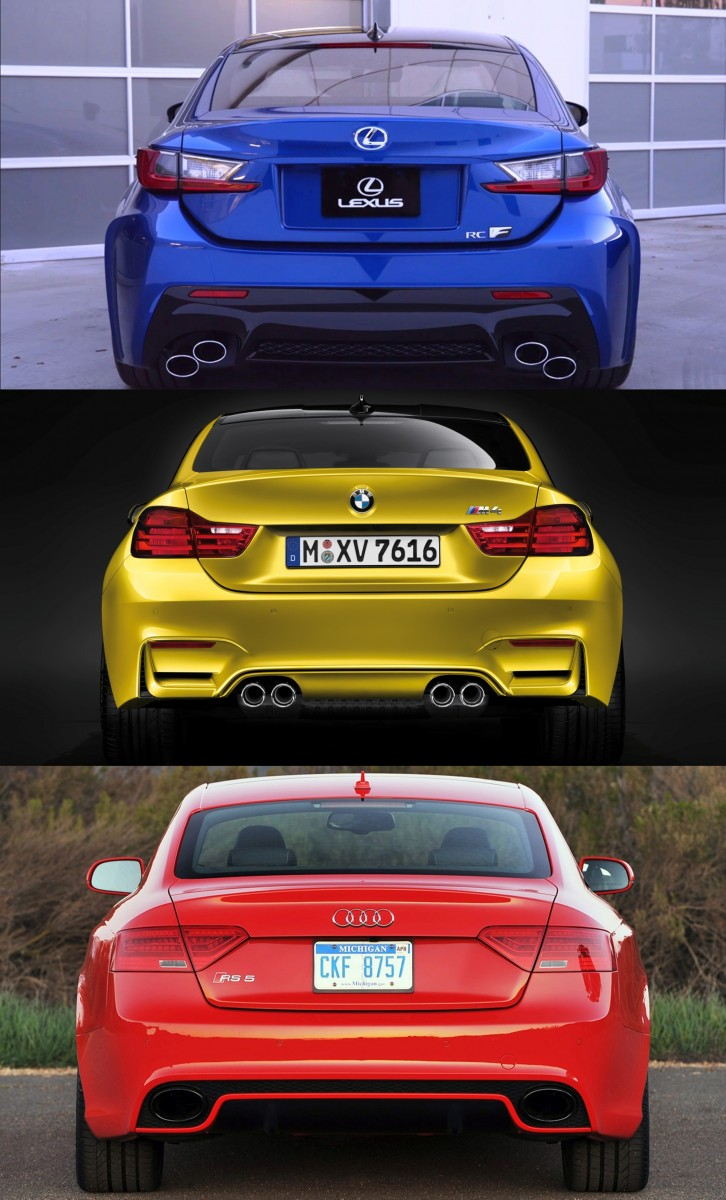 2015 Supercoupe Design Shootout - Lexus RC F vs. BMW M4 vs. Audi RS5 4