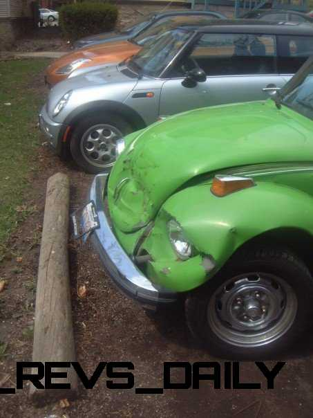 My SuperBeetle, Walter, after a bomp on the nose at UW-Madison in 2004