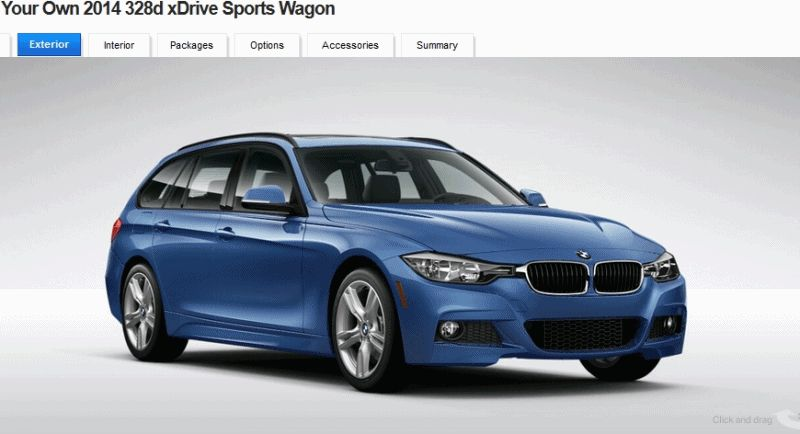 BMW 328d and 328i Sport Wagons BuildYourOwn Blue M Sport GIF