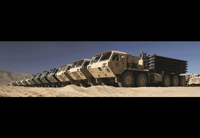 Oshkosh Light medium and Heavy tactical trucks GIF