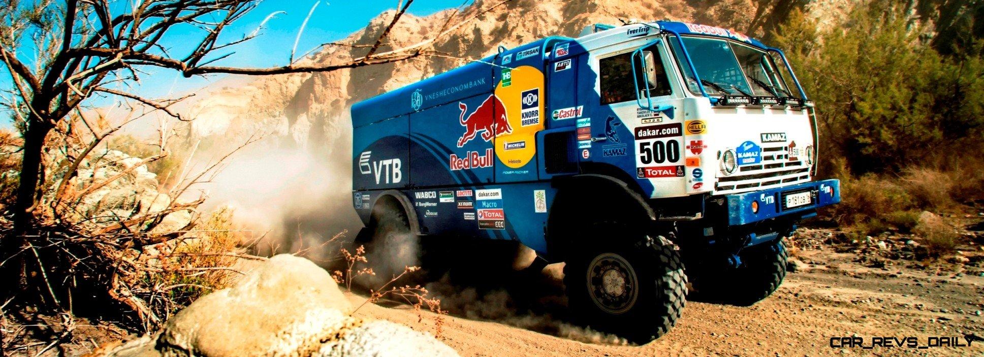 Chagin & Nikolaev + Kamaz truck performs during pre shoots 2014 Dakar Team Activations