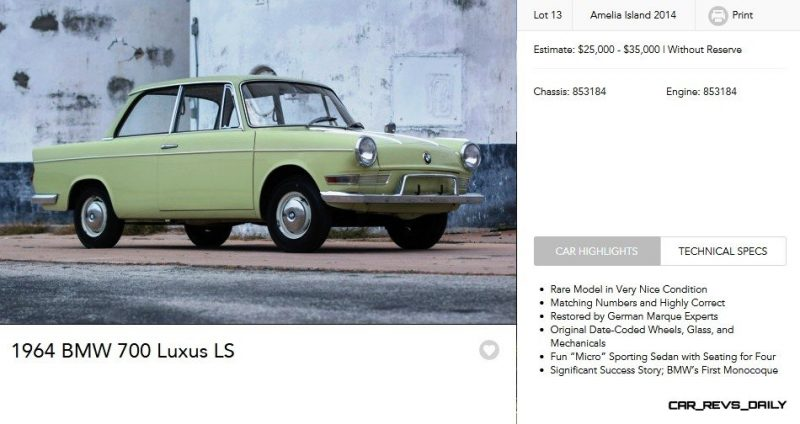 1964 BMW 700 Luxus LS