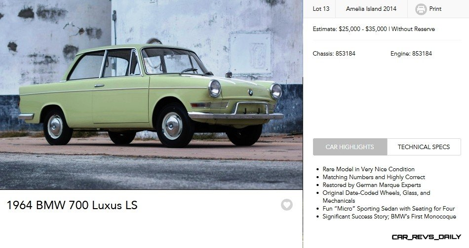 1964 BMW 700 Luxus LS