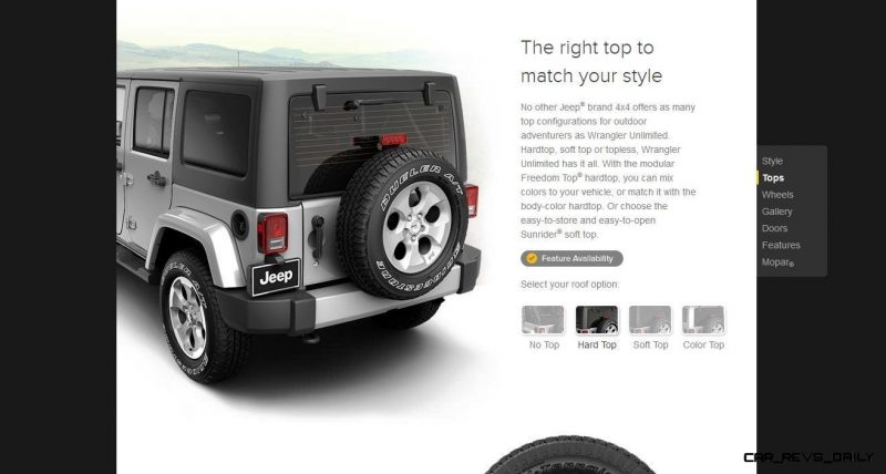 Car-Revs-Daily.com -- Buyers Guide to 2014 JEEP Wrangler Trims, Tops and Doors 62