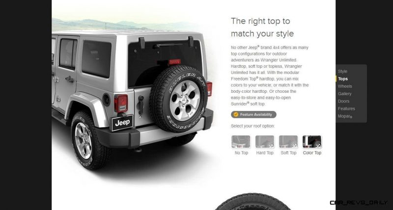 Car-Revs-Daily.com -- Buyers Guide to 2014 JEEP Wrangler Trims, Tops and Doors 64