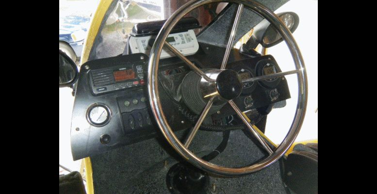 Helicat22 At Miami Boat Show -- Twin-Engine Catamaran Prototype in Yellow GIF