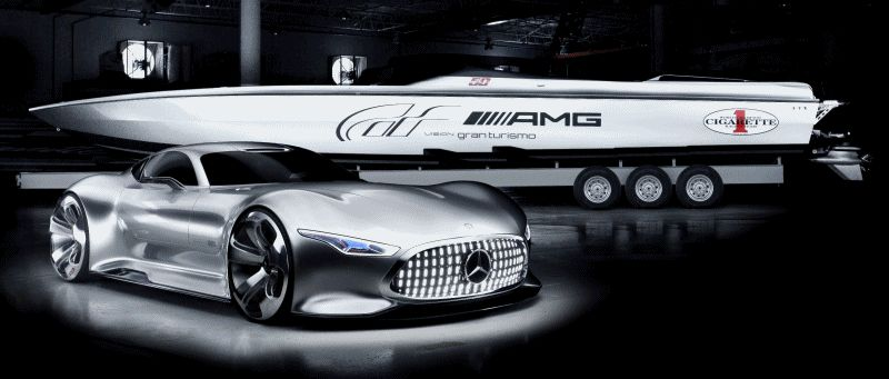 Mercedes-AMG Vision GT 50-foot cigarette racing boat GIF