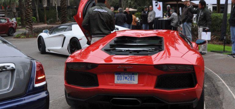 Corrida de los Aventadores!  Amelia Island -- Lamborghini V12 Flagships GIF