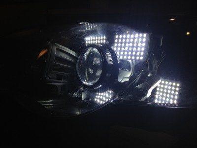 DIY LED Headlights v70 indoor pair testing_8170825087_l