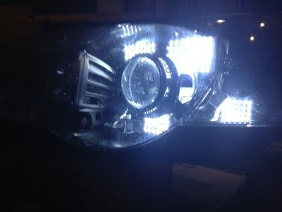 DIY LED Headlights v70 indoor pair testing_8170825361_l