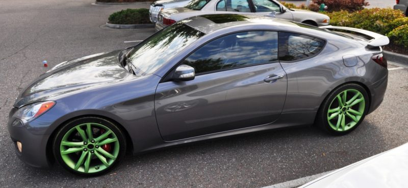 2014 Hyundai Genesis Coupe 3.6 R-Spec at Cars & Coffee - Wearing Custom Lime Green Wheels13