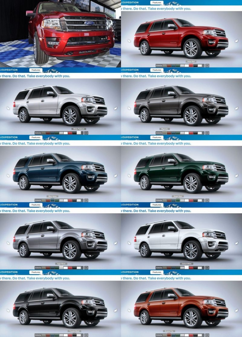 2015 Ford Explorer Color Chart >> 2015 Expedition Colors And Animated Turntables