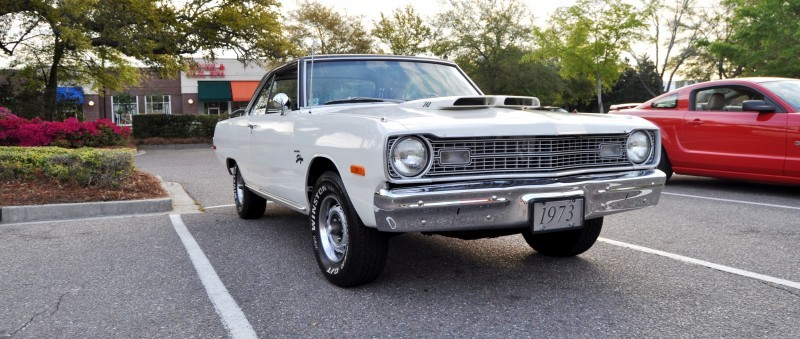 Mini Musclecar Is Ready To Boogie! 1973 Dodge Dart Swinger at Charleston, SC Cars and Coffee 1
