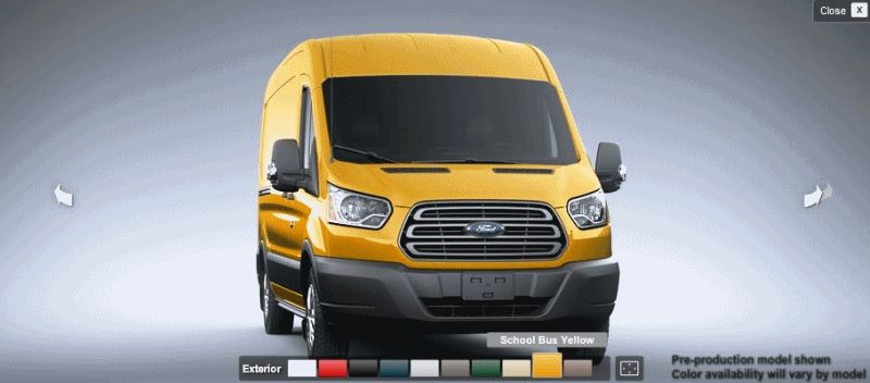 YELLOW 2015 FORD Transit Cargo Van