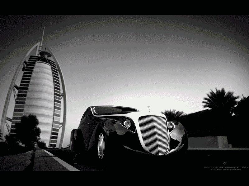 Burj Al Arab GIF tennis cars
