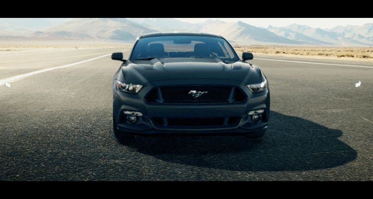 Car-Revs-Daily.com - 2015 Ford Mustang - GUARD GREEN GIF Turntable