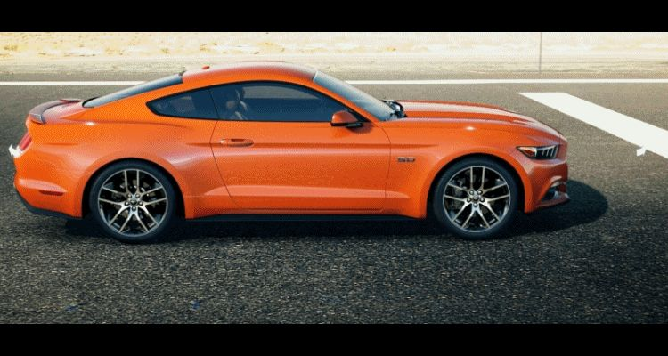Car-Revs-Daily.com - 2015 Ford Mustang - ORANGE GIF Turntable