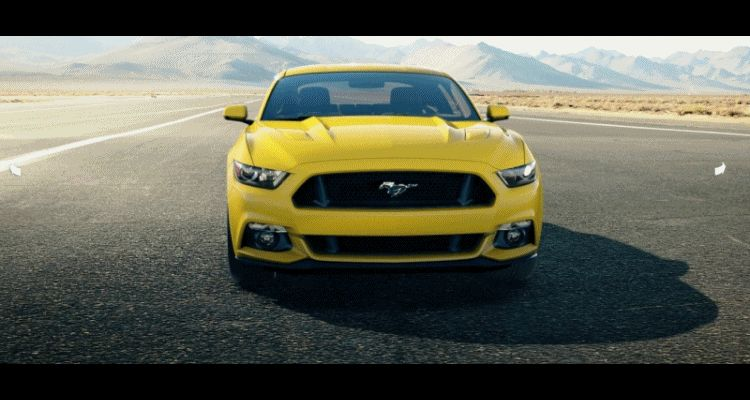 Car-Revs-Daily.com - 2015 Ford Mustang - YELLOW GIF Turntable