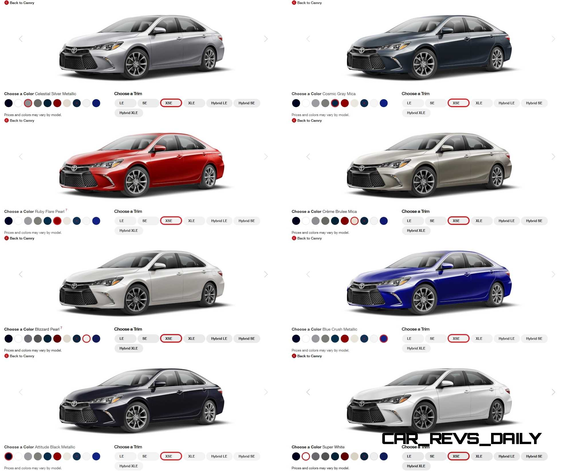 2015 Camry Colors >> 2015 Toyota Camry Colors And Trims Visual Buyers Guide