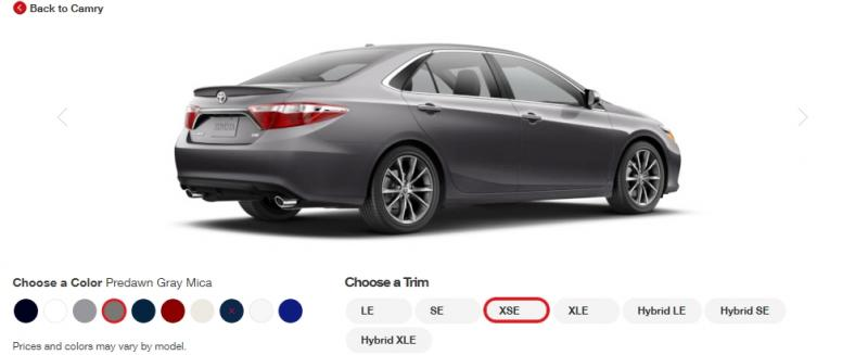 2015 Toyota Camry XSE Colors 16