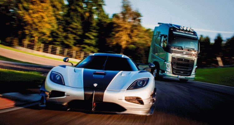 volvo trucks fh vs koenigsegg gif
