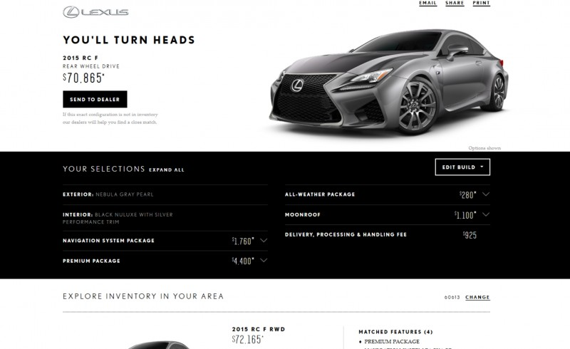 2015 Lexus RC F Colors and Wheels Visualizer 12