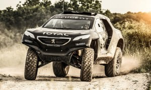 Carlos Sainz performs during the Peugeot 2008 DKR first test in