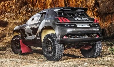 The Peugeot 2008 DKR during the test in Chateau de Lastours, Por