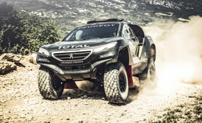 Stephane Peterhansel performs during the Peugeot 2008 DKR test i