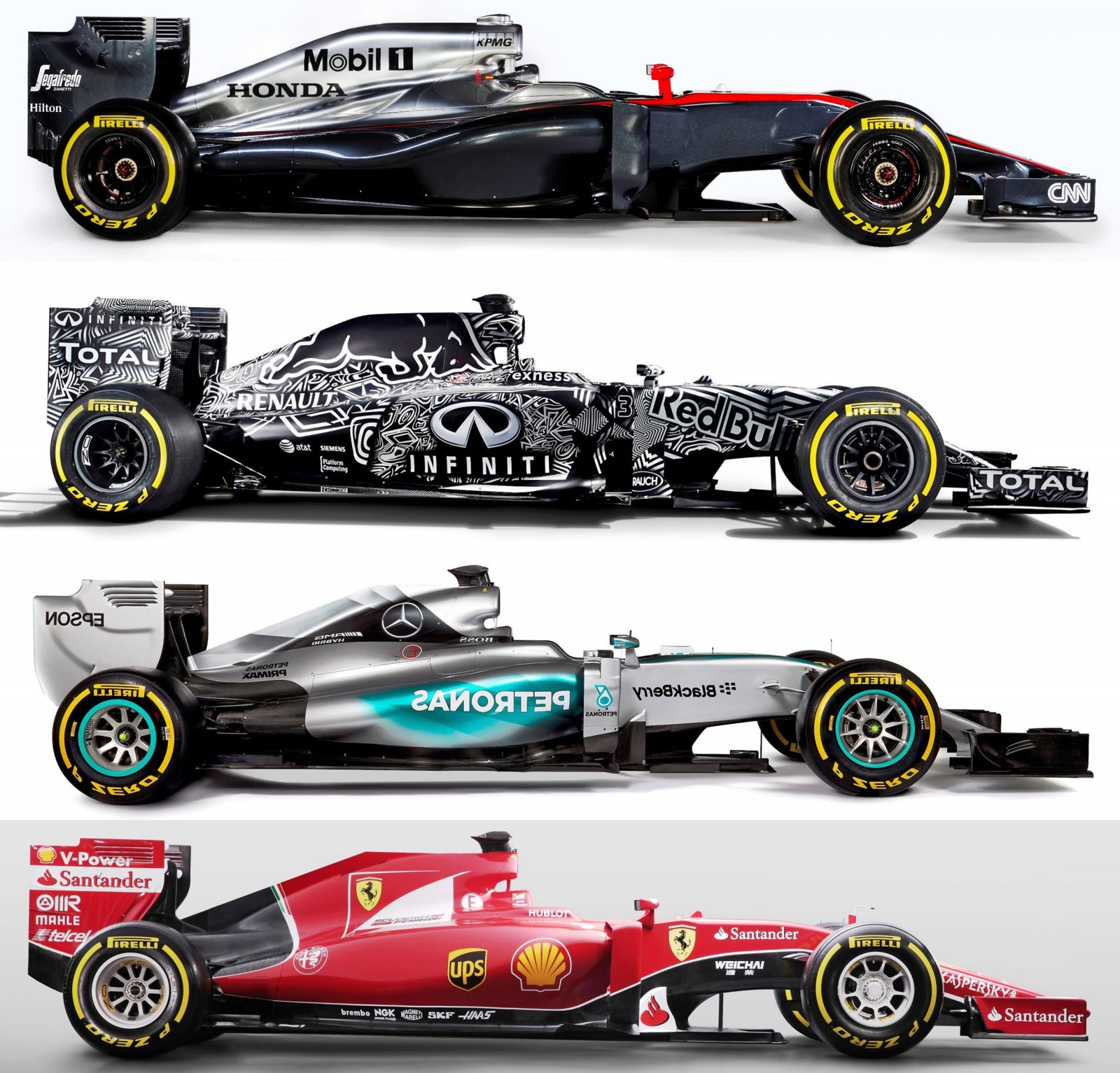 2015 F1 Cars Comparo - Infiniti RB11 vs McLaren-Honda MP4-30 vs AMG W06 vs Ferrari SF15T 29