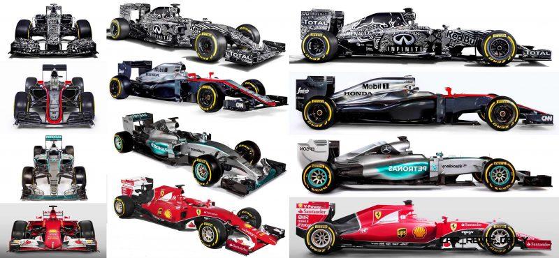 2015 F1 Cars Comparo - Infiniti RB11 vs McLaren-Honda MP4-30 vs AMG W06 vs Ferrari SF15T