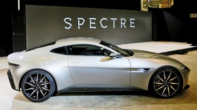 An Aston Martin DB10 car is seen during an event to mark the sta