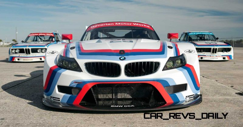 2015 BMW Z4 GTLM CSL Homage Livery Meets 1975 BMW 3.0 CSL Racecar At Amelia Island Concours 4