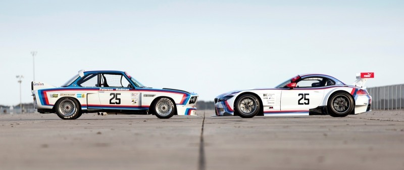 2015 BMW Z4 GTLM CSL Homage Livery Meets 1975 BMW 3.0 CSL Racecar At Amelia Island Concours 6