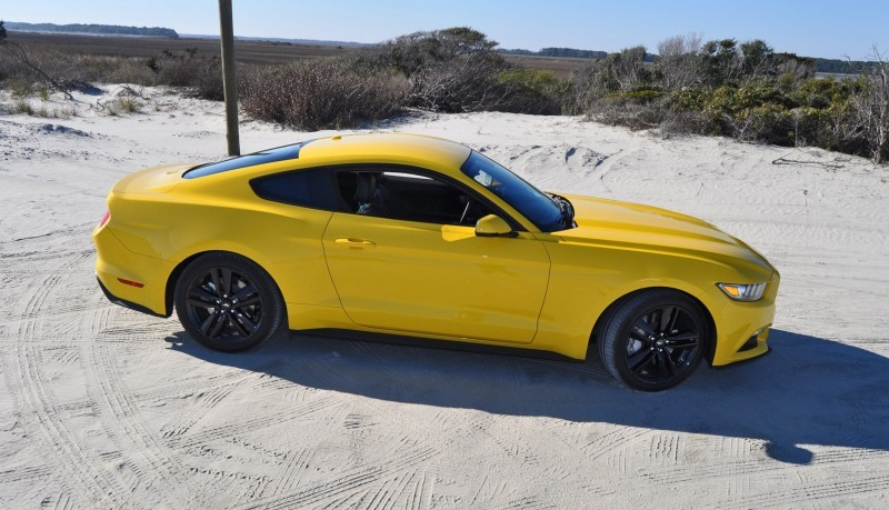 HD Road Test Review - 2015 Ford Mustang EcoBoost in Triple Yellow with Performance Pack 88