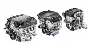 The all-new engine line up for Camaro features (left to right) t