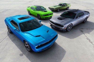 From Front to back: 2015 Dodge Challenger SXT, 2015 Challenger 392 HEMI® Scat Pack Shaker and 2015 Challenger R/T Shaker pictured with 1971 Dodge Challenger R/T Shaker