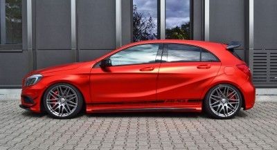 Mercedes-Benz A45 AMG in Satin Red Chrome Wrap by FOLIEN EXPERTE 1