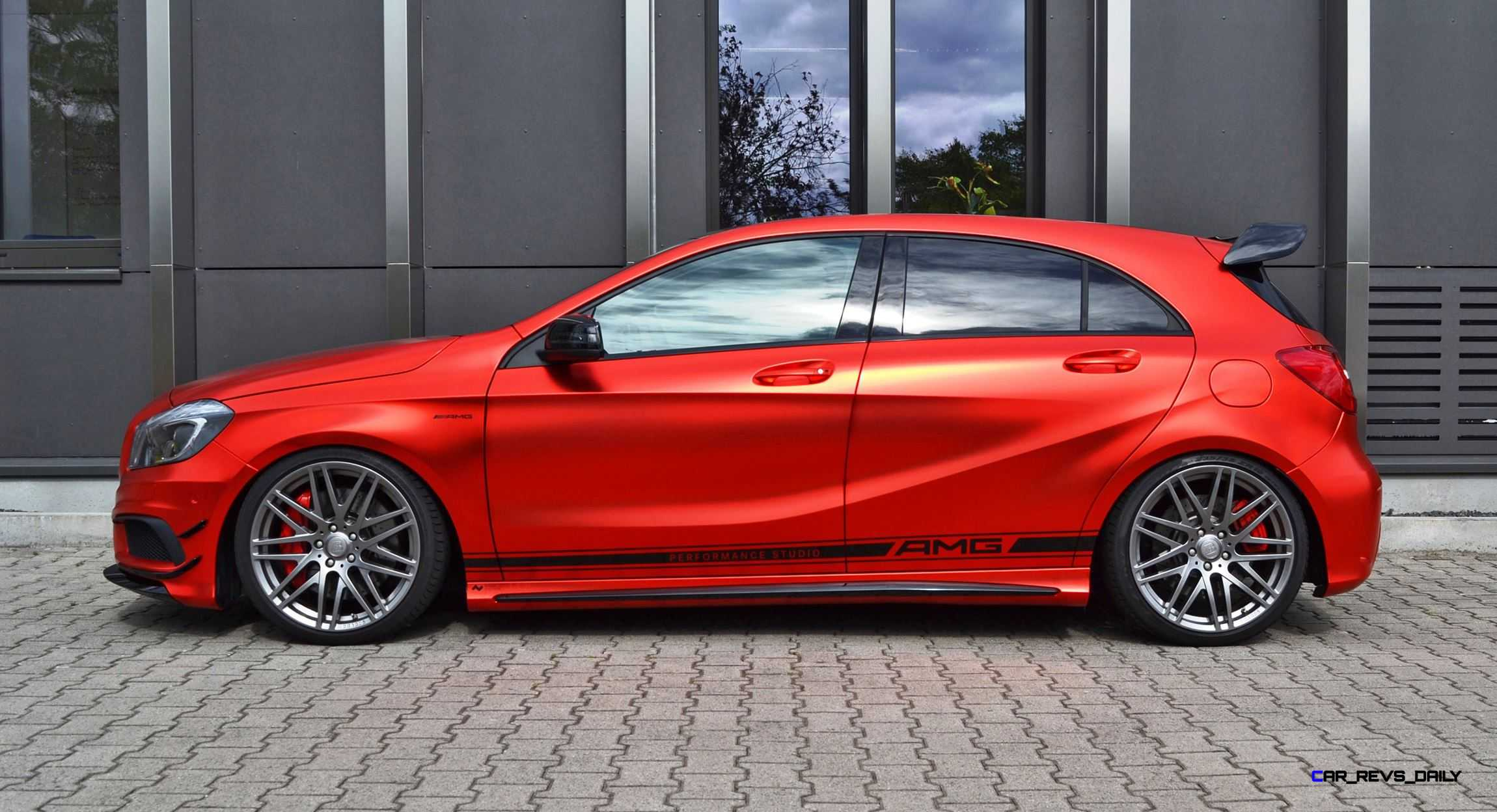 Mercedes benz a45 amg in satin red chrome wrap by folien for Mercedes benz chrome